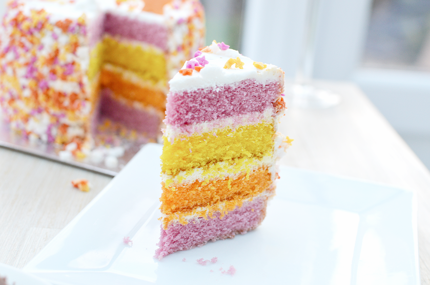 pink purple rainbow cake slice