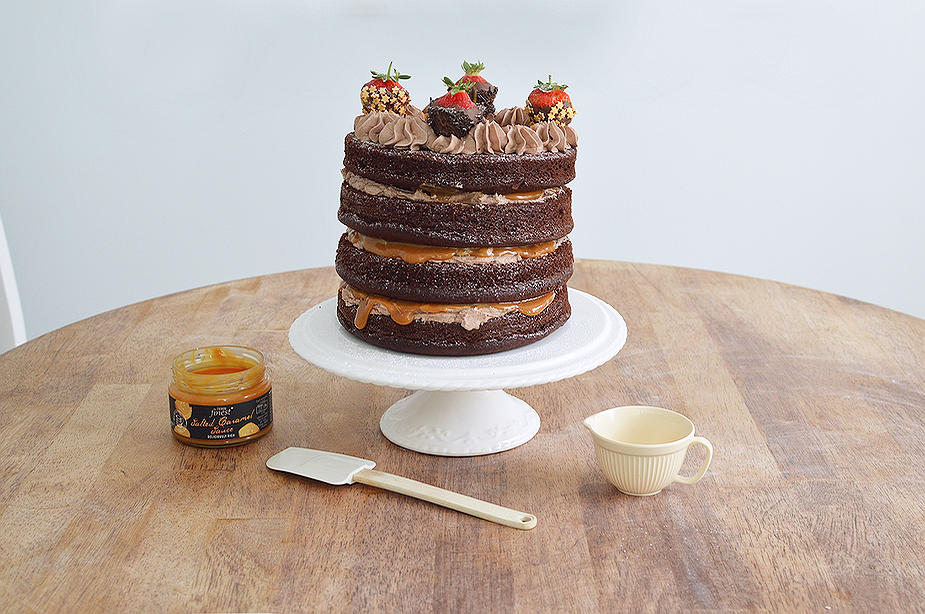Four layer chocolate and salted caramel cake